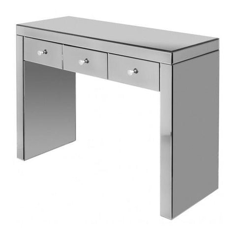 Smoke Grey Mirror Console Table with Three Drawers