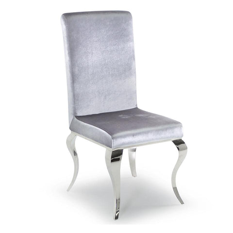 Elegancia Chrome & Silver Velvet Dining Chair (Pack of 2)