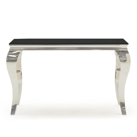Elegancia Chrome & Black Glass Console Table
