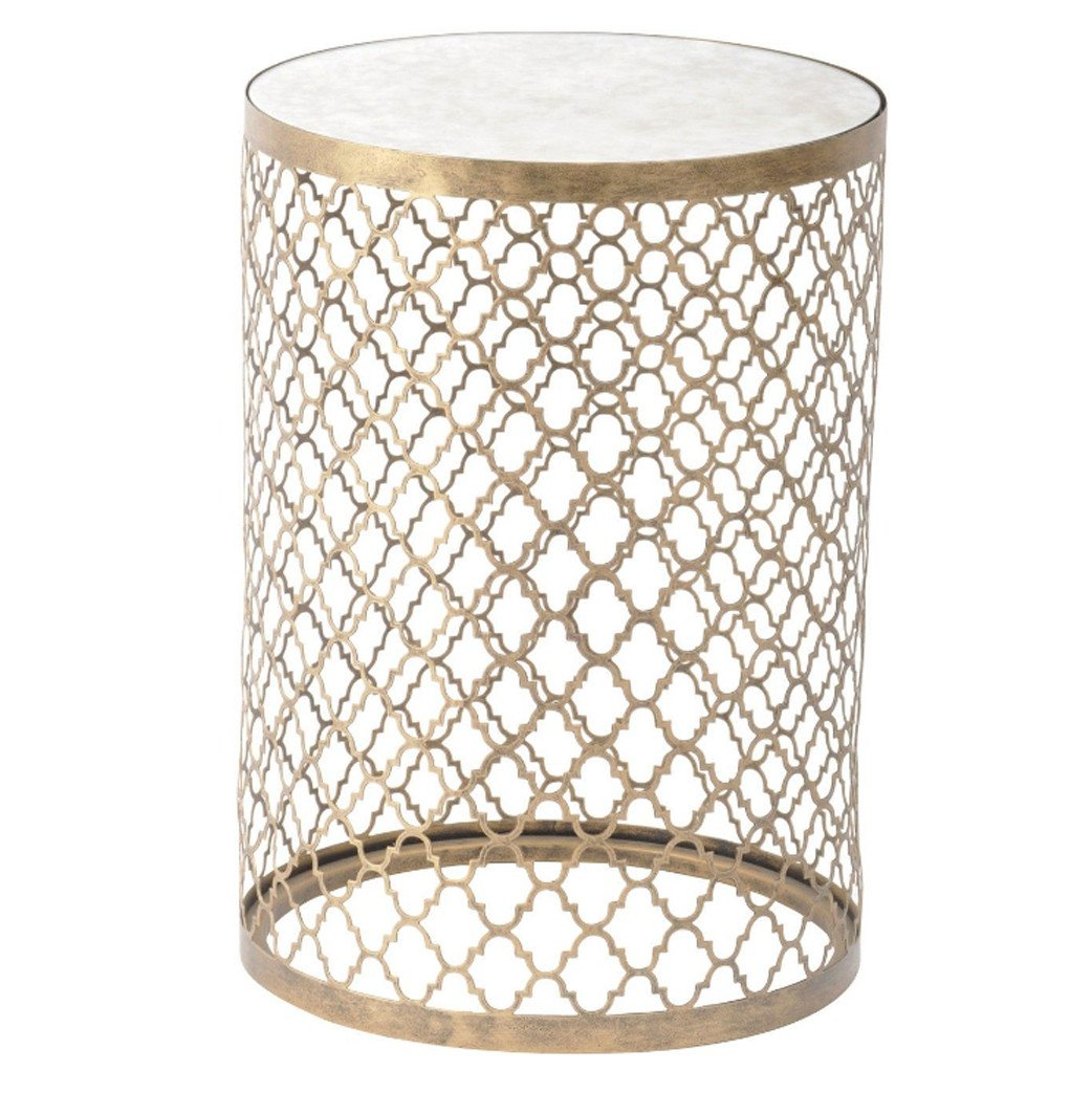 Lovely Staten Quatrefoil Gold Round End Table With Mirror Top