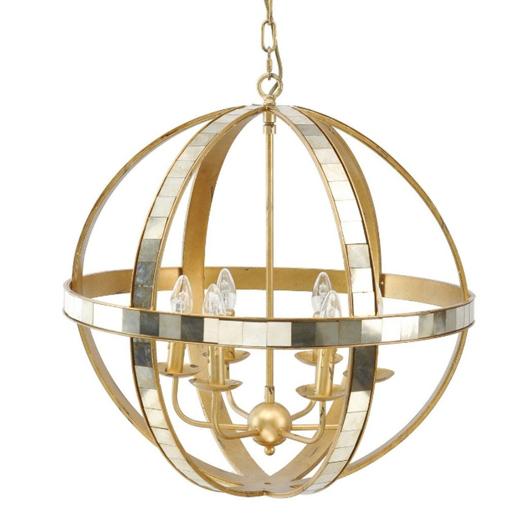 Carolina Gold Mirrored Orb Chandelier Ceiling Light Glam Home Store