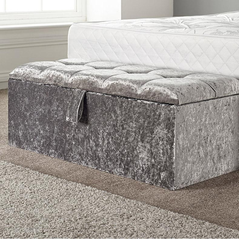 Arianna Ice Silver Velvet Crystal Buttoned Bed