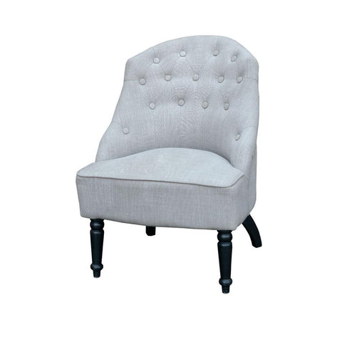 Grey Buttoned Armchair