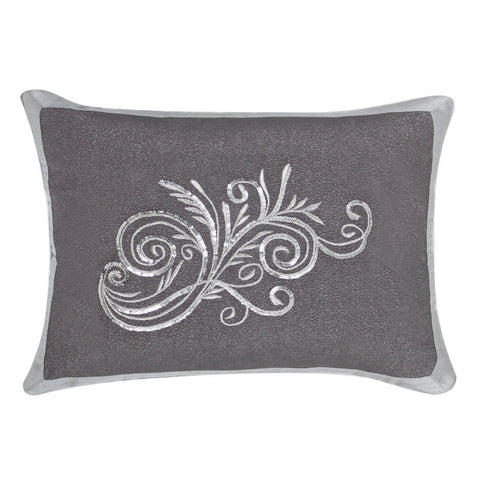 Liliana Grey Linen & Gemstone Cushion