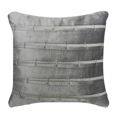 Ange Grey Velvet Stripe Cushion