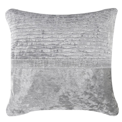 Siselle Grey Velvet & Diamante Pleated Cushion
