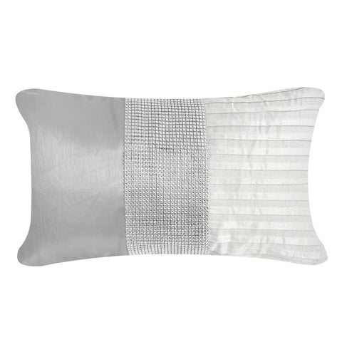 Allegra Grey Satin Diamante Rectangular Cushion
