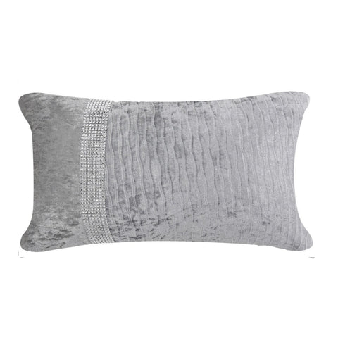 Chantelle Grey Velvet Diamante Rectangular Cushion