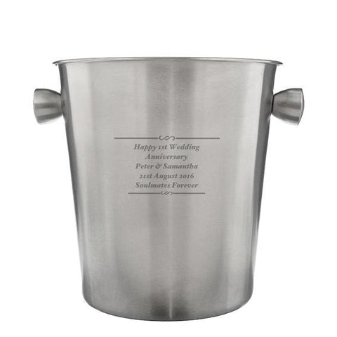 Personalised 'Any Message' Stainless Steel Ice Bucket