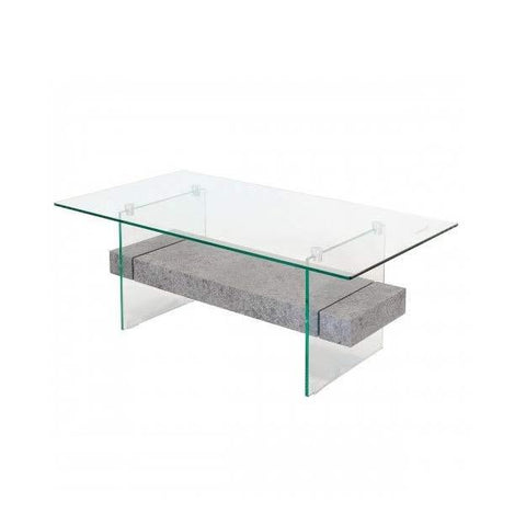 Figueria Glass Coffee Table with Grey Concrete Effect Shelf