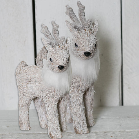 Pair of Whitewashed Grass Reindeer