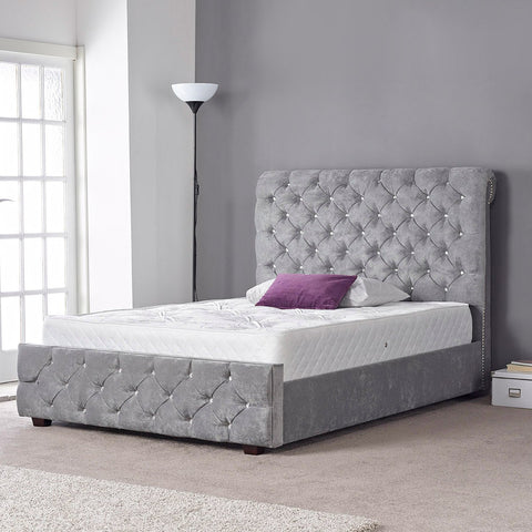 Hannah Grey Velvet Luxury Studded Crystal Buttoned Bed