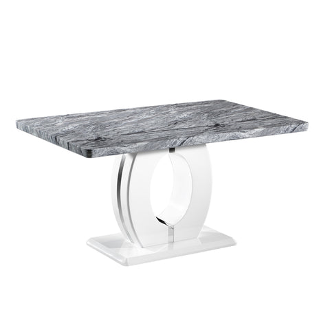 Mable Polished Chrome & Marble Dining Table
