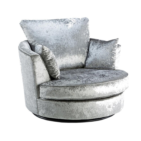 Dazzle Silver Crushed Velvet Swivel Chair