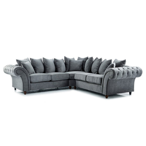 Dove Charcoal Buttoned Double Corner Sofa
