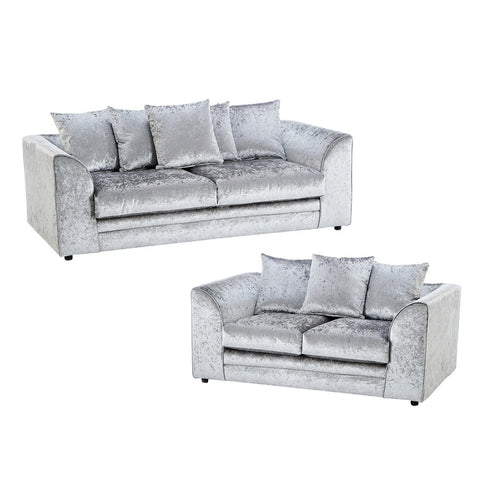 Galaxy Silver Crushed Velvet Sofa Set