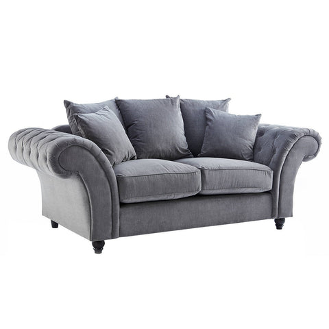 Dove Charcoal Buttoned Two Seater Sofa