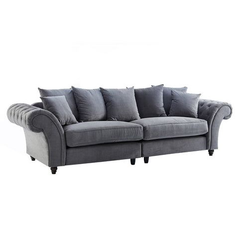 Dove Charcoal Buttoned Four Seater Sofa
