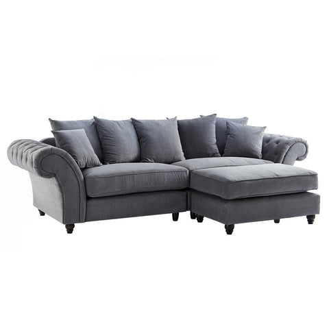 Dove Charcoal Buttoned Sofa & Footstool