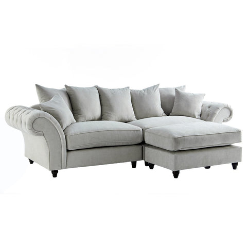 Dove Stone Buttoned Sofa & Footstool Set