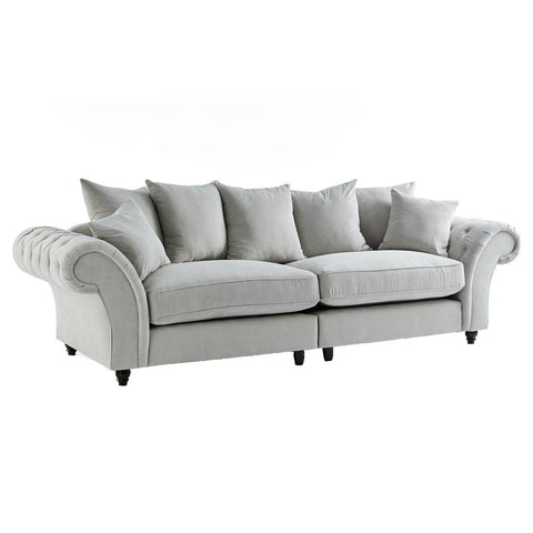Dove Stone Buttoned Four Seater Sofa