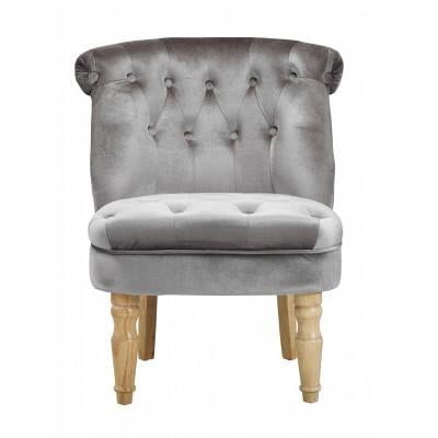 Amelia Silver Velvet Buttoned Occasional Chair