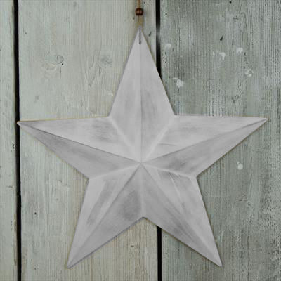 Set Of 3 Grey Washed Wooden Star Bundle