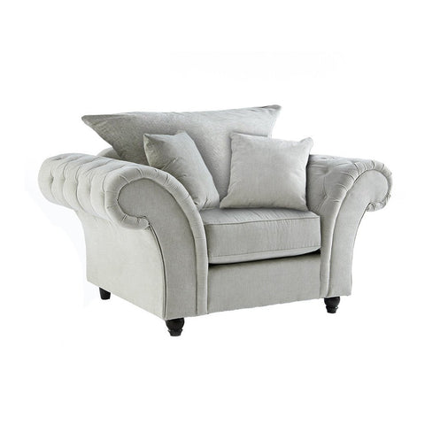 Dove Stone Buttoned One Seater Chair