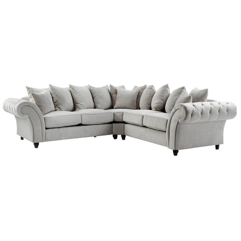 Dove Stone Buttoned Double Corner Sofa