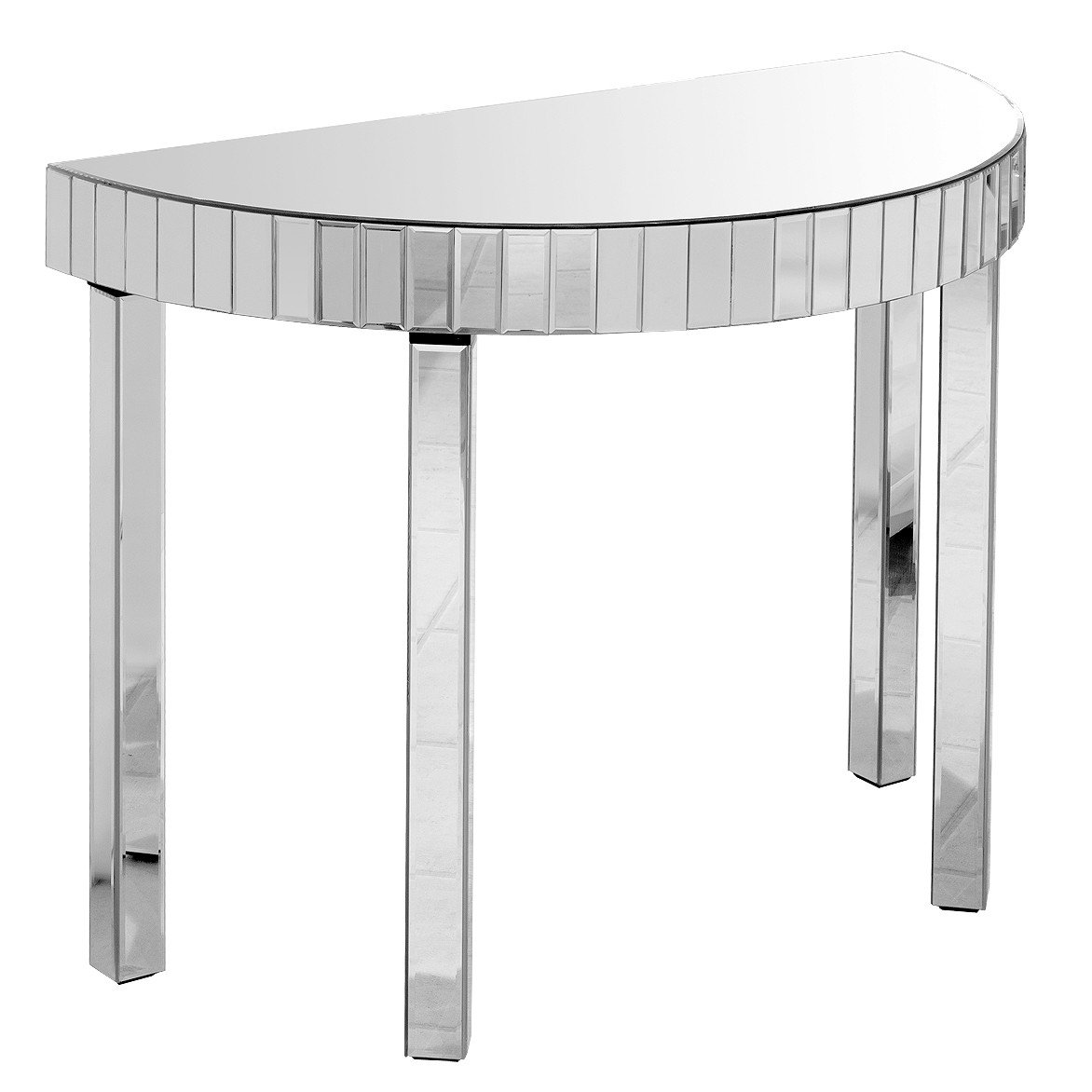Mirrored semi circle console table glam home store mirrored semi circle console table geotapseo Gallery