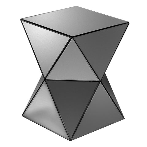 Triangles Smoke Grey Mirrored Pedestal Table