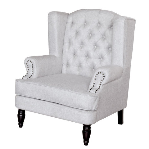 Olivia Light Grey Buttoned Armchair