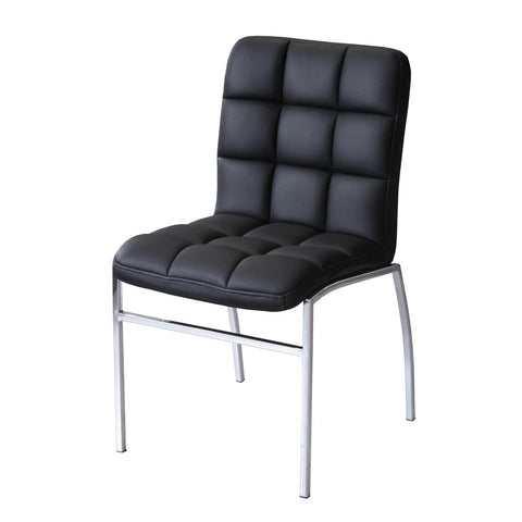 Karlie Black Padded PU Dining Chair with Chrome Legs