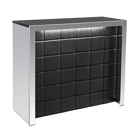 Belvedere Black & Silver Quilted Home Bar