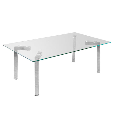 Julieta Glass Coffee Table with Silver Legs