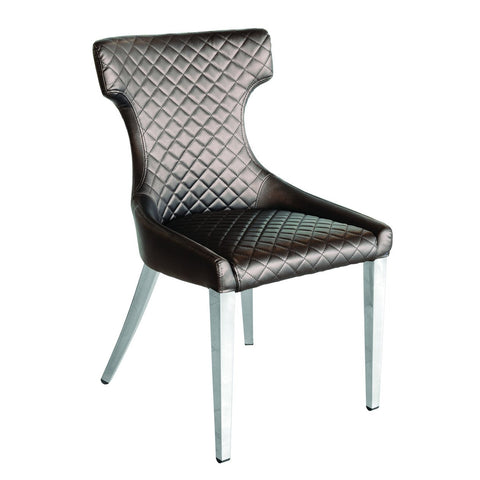 Kelis Brown Shimmer Quilted PU Dining Chair with Silver Legs