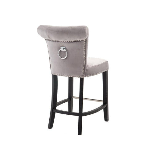 Velvet Bar Stool with Knocker Back- Grey