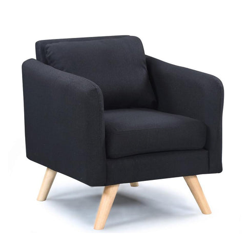 Luella Black Fabric Armchair