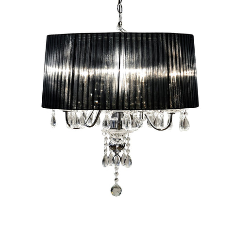 Black Five Lamp Chandelier- Chrome