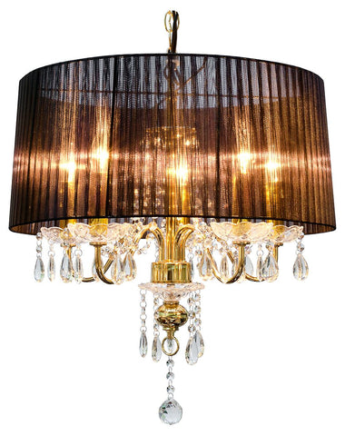 Black Five Lamp Chandelier- Gold