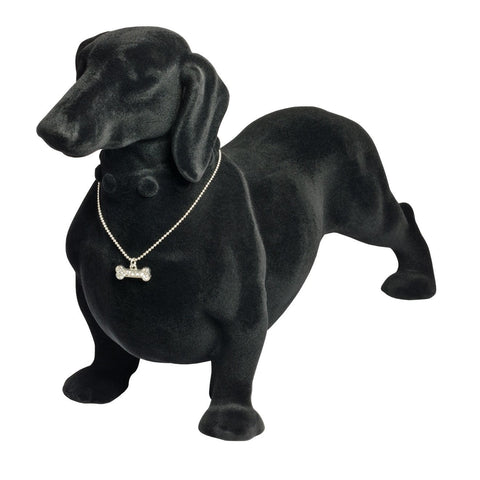 Black Felt Flocked Daschund Dog