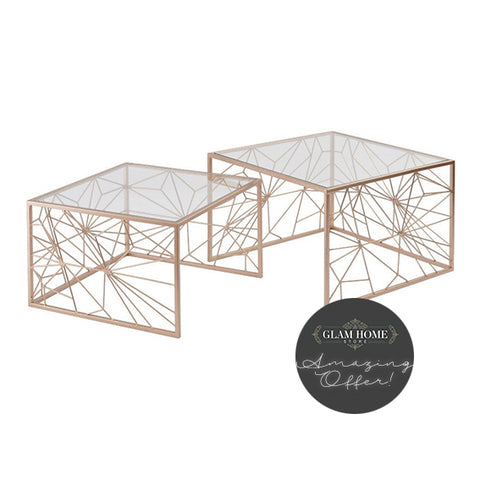 Georgia Rose Gold Web Nest of 2 Tables