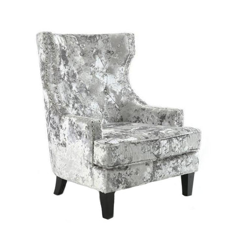 Queen Silver Crushed Velvet Arm Chair