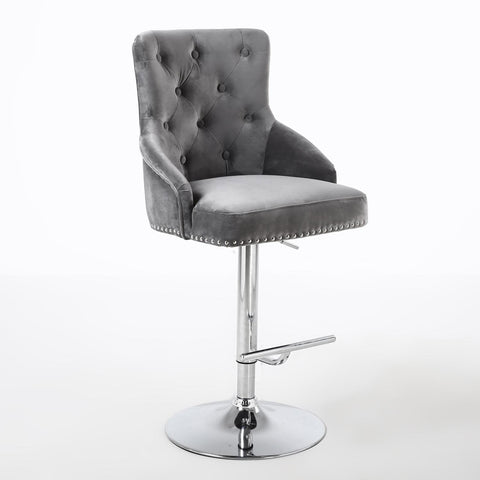 Vila Grey Premium Brushed Velvet Studded Bar Stool