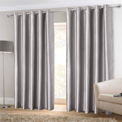 Faux Silk Eyelet Curtains- Silver