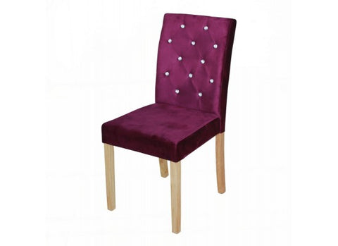 Valentina Crystal Button Chairs- Mulberry (Sold as a Pair)