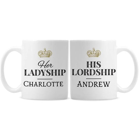 Personalised Ladyship and Lordship Mug Set
