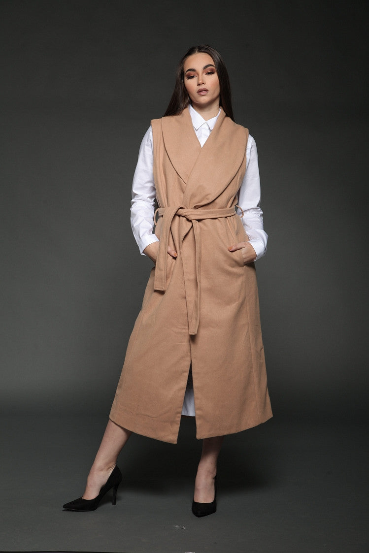 Nude Wool Cape Coat