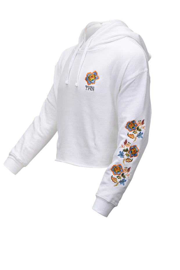 Women's Cropped Floral Hoodie