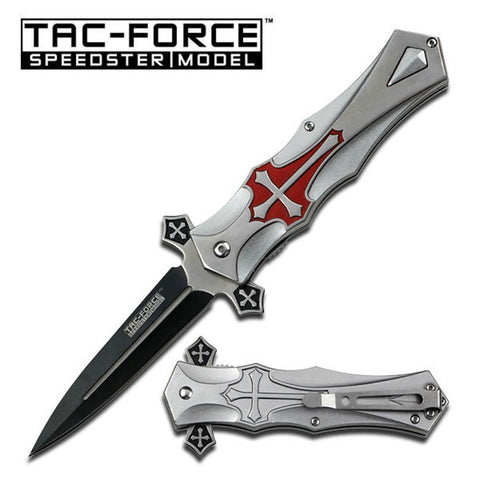 "Tac-force TF817RD Red Cross 3mm Folding Blade 4"" Stainless Steel Pocket Knife - Audiovideodirect"